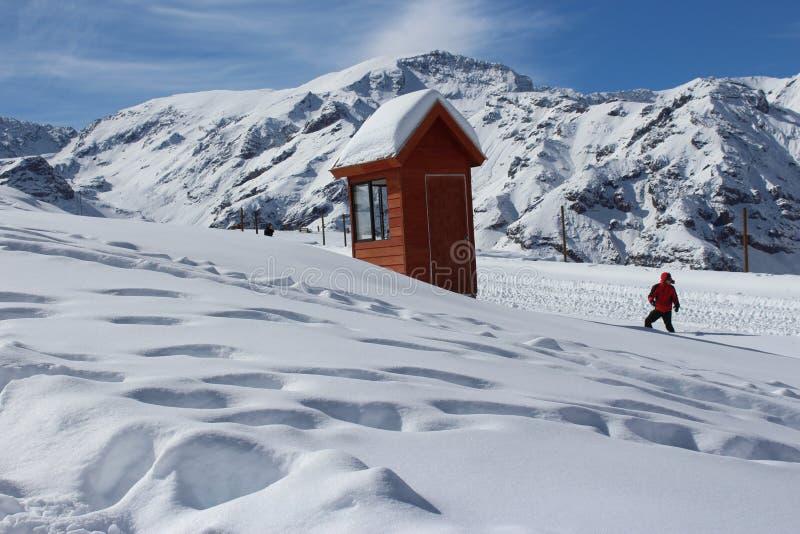 Person Doing Snow Ski Near House royalty free stock photos