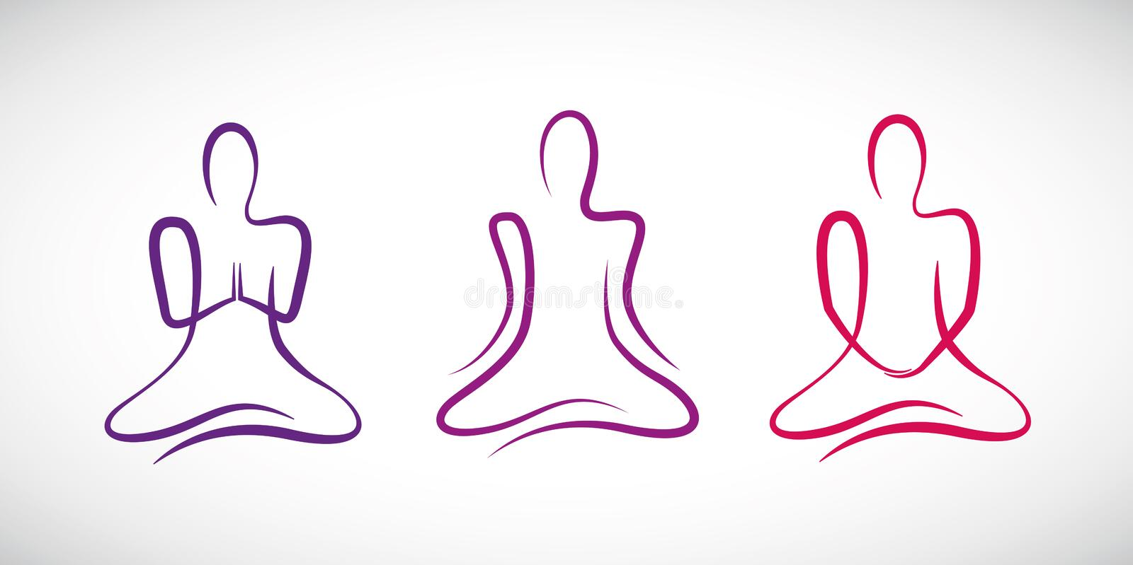Person doing yoga in different positions line drawing vector illustration