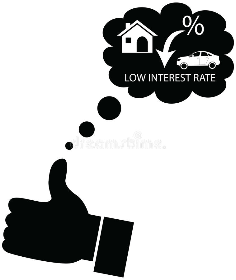 Person dreaming or liking for decline in interest rates. royalty free stock image