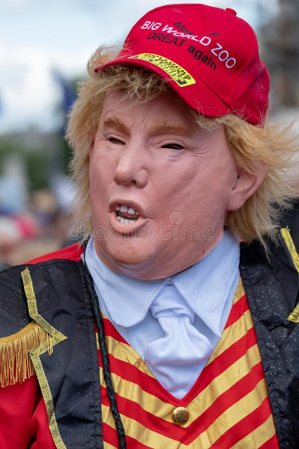 Person dressed up as President Trump at the `March for Change` anti-Brexit demonstration in London UK stock image