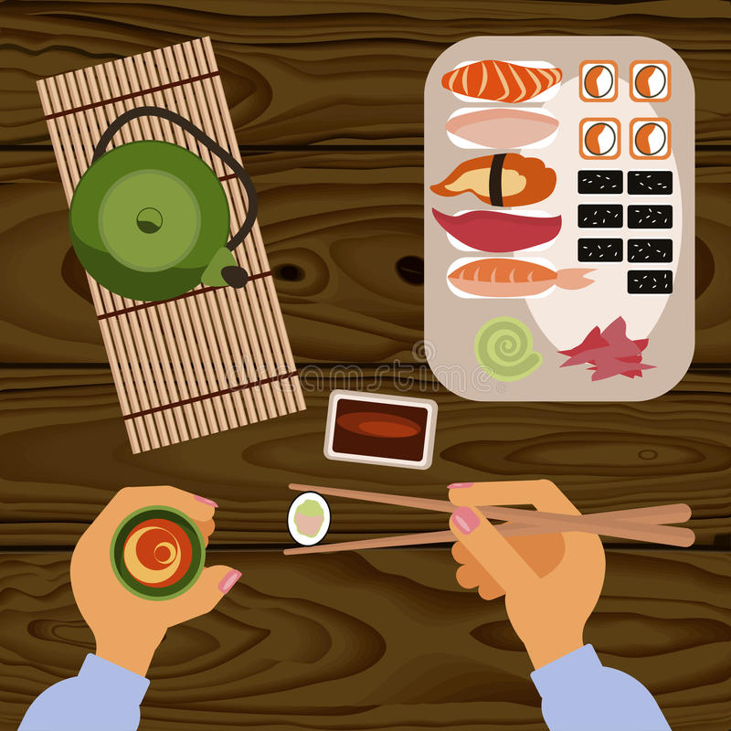 Person is eating delicious sushi. Rolls and tee, top view. Vector illustration eps 10 royalty free illustration