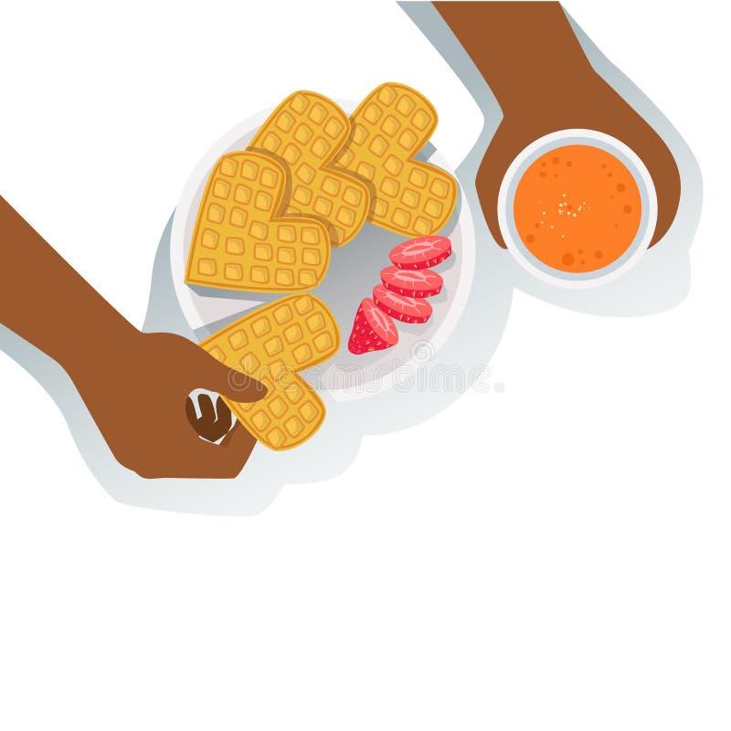 Person Eating Waffles With Strawberry e Juice Classic Breakfast Food Products e itens de menu alaranjados bebendo ilustração do vetor