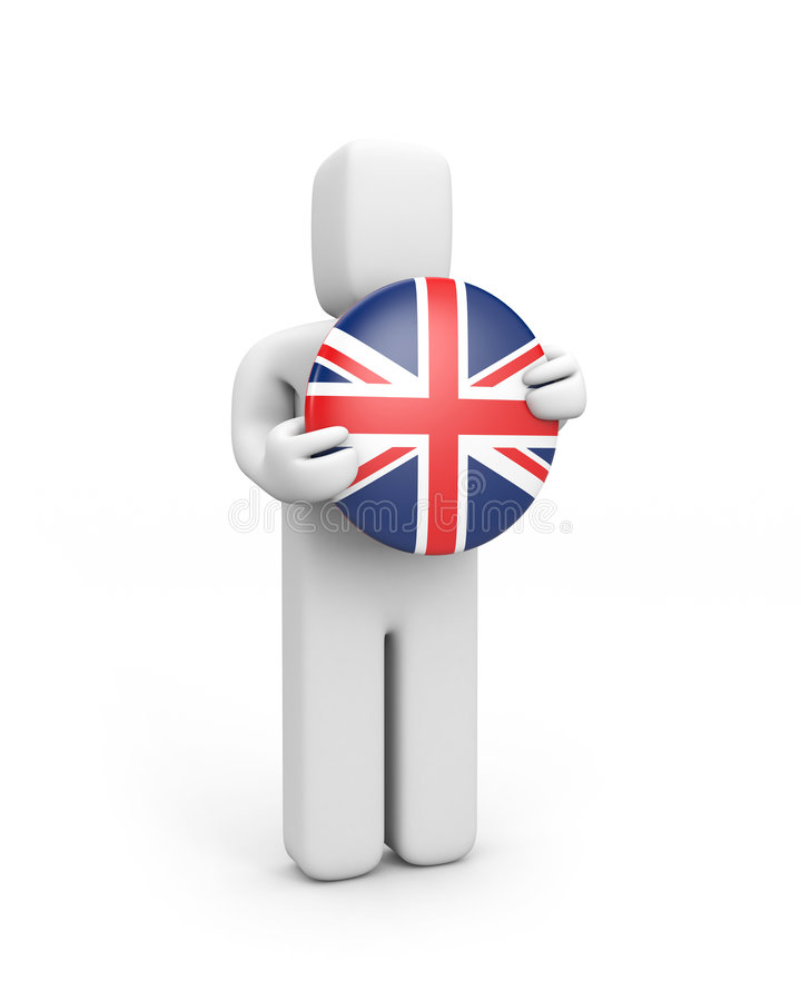 Person with England badge (badge) vector illustration