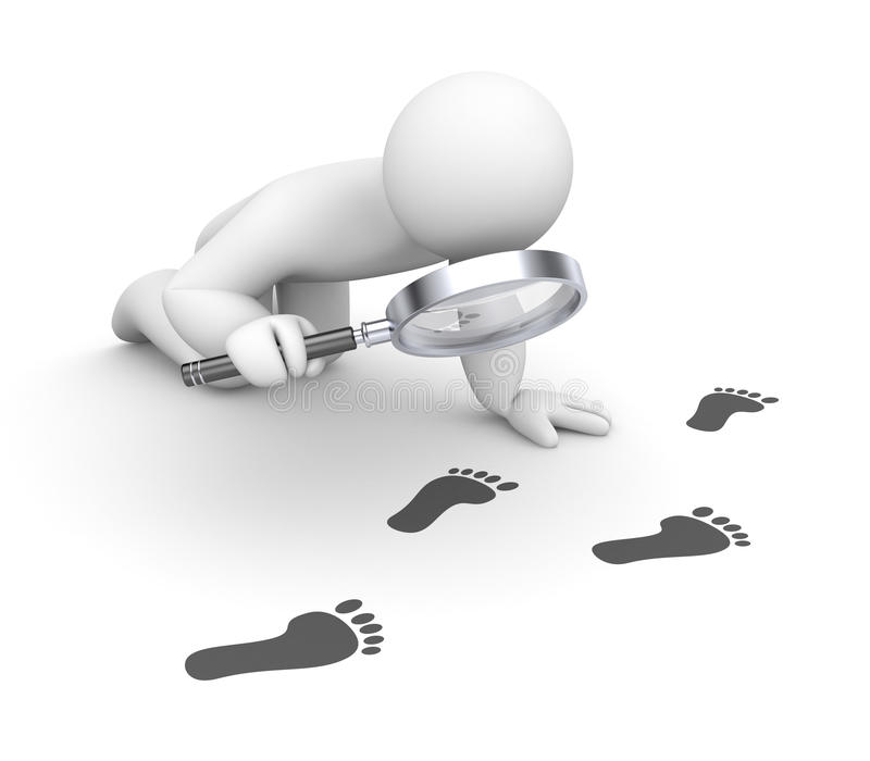 Person examines footprints. Business concept. Separated on white stock illustration