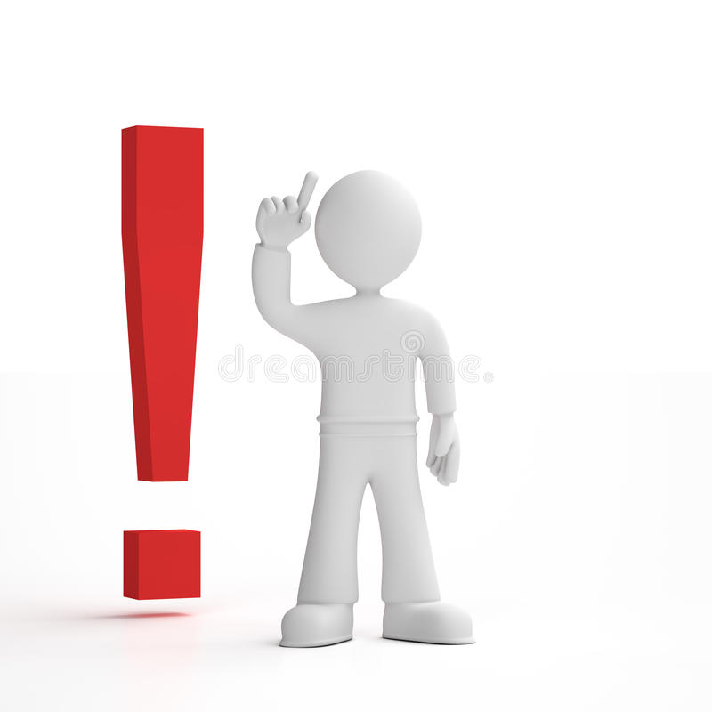 Person with an exclamation mark. 3d person render pointing his finger in the air next to an exclamation mark, white background royalty free illustration
