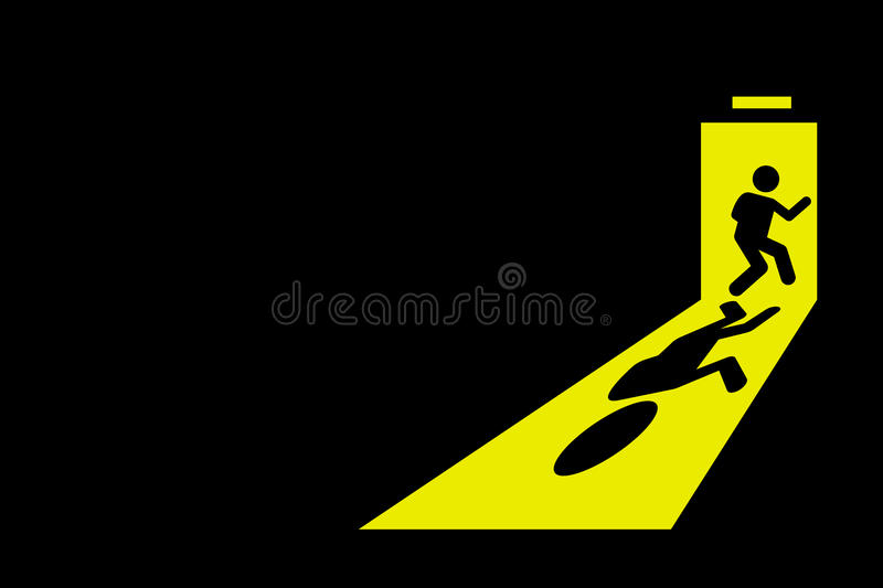 Person exit from room. Person leaving dark room to go outside through exit door with bright yellow light casting strong shadow on the floor. Vector artwork stock illustration