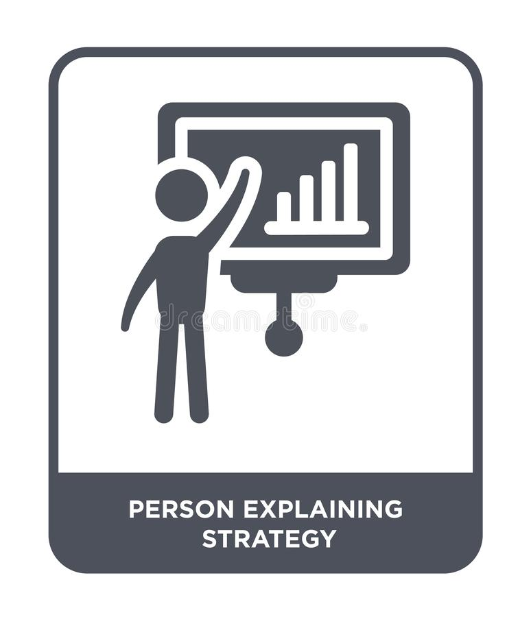 Person explaining strategy icon in trendy design style. person explaining strategy icon isolated on white background. person. Explaining strategy vector icon royalty free illustration
