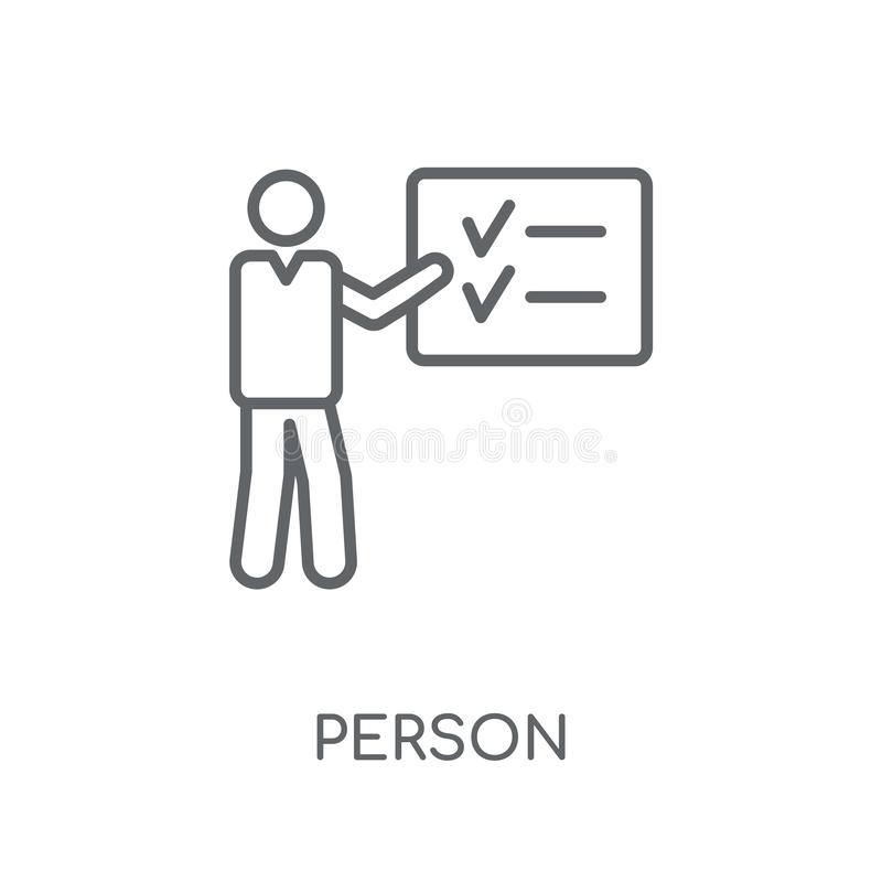 Person explaining strategy linear icon. Modern outline Person ex. Plaining strategy logo concept on white background from Business and analytics collection vector illustration