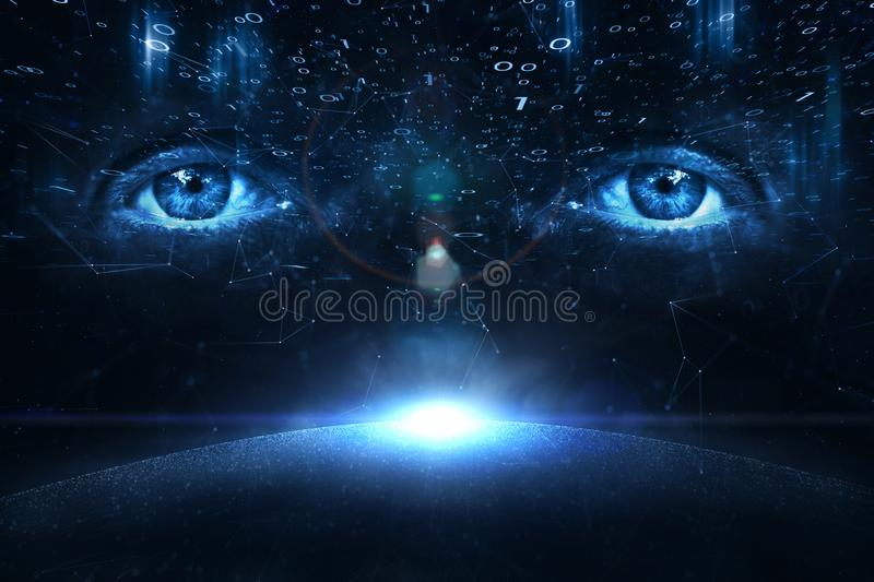 Person eyes on digital cyberspace background. Person eyes on digital computer binary numbers data cyberspace background royalty free stock photos