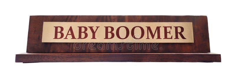 Person född under en baby boomnamnplatta arkivfoto