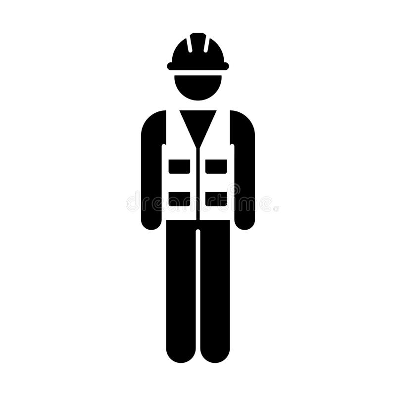 Person för service för man för arbetarsymbolsvektor av arbetaren för byggnadskonstruktion med Hardhathjälmen och omslaget i skåra royaltyfri illustrationer
