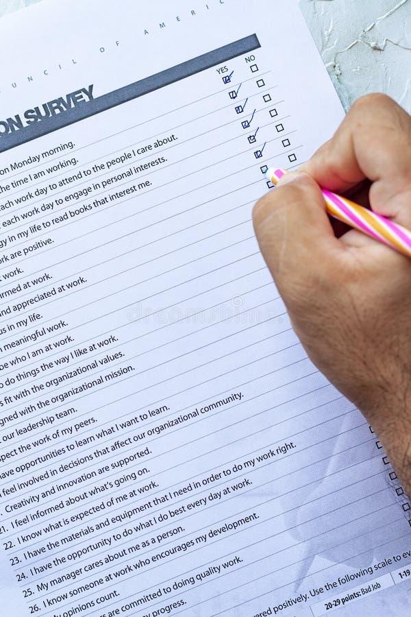 Filling Job Satisfaction Survey stock image