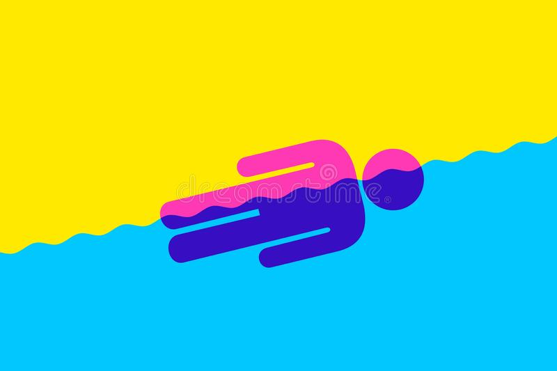 Person is in the flow. Male is floating in the water - total devotion and immersion. Vector illustartion vector illustration