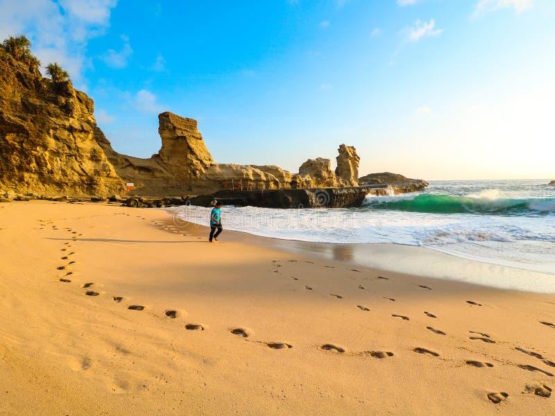 Person geht auf brauner Küste in der Nähe von Felsformationen lizenzfreie stockfotos