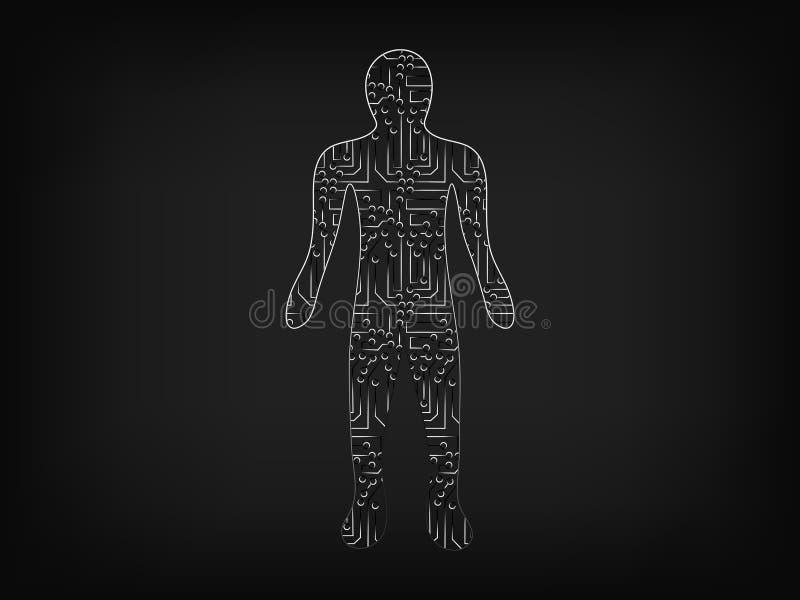 Person gemacht von den elektronischen Mikrochipartstromkreisen lizenzfreie abbildung