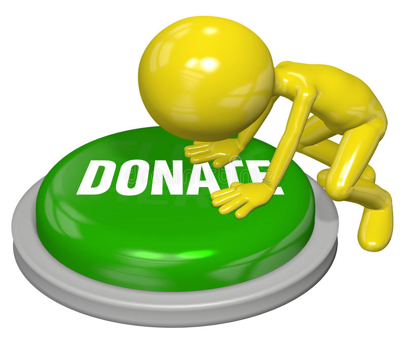 Person gives website DONATE button push. Cartoon person pushes button to DONATE a contribution on a website royalty free illustration