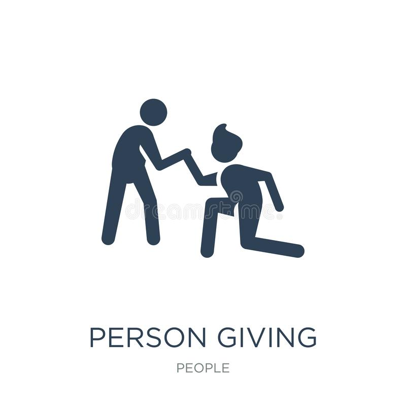 person giving assistance icon in trendy design style. person giving assistance icon isolated on white background. person giving royalty free illustration