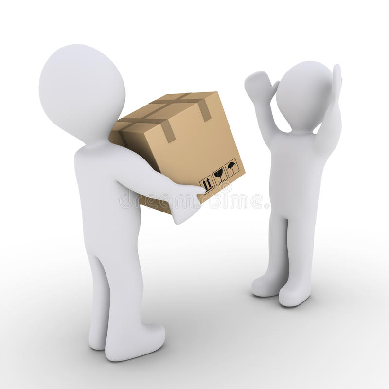Person Is Giving To Another A Sealed Carton Box Stock Images