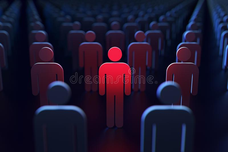 A person glowing red between other people as a concept of being spied by the government. 3D rendering. A person glowing red between other people as a concept of vector illustration