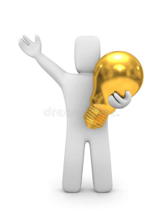 Person with gold lightbulb royalty free illustration