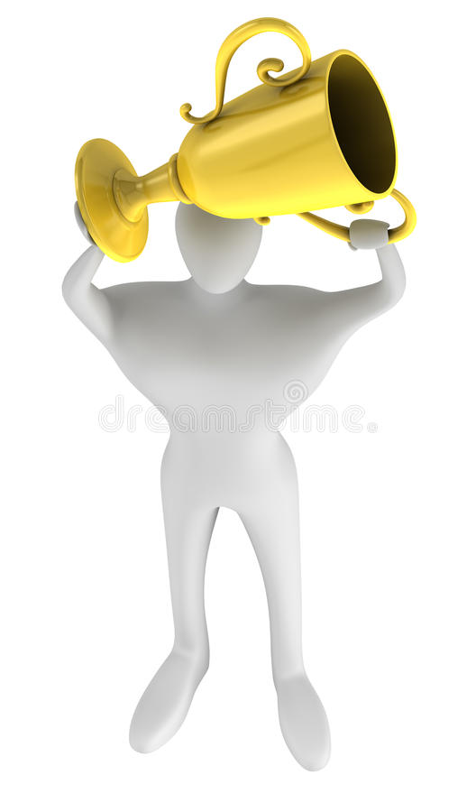 Person With A Gold Trophy In Hands Stock Photography