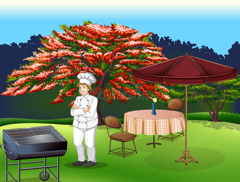 A person grilling at the park royalty free illustration