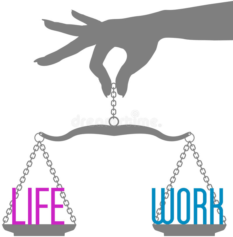 Person hand balance Life Work on scales royalty free illustration