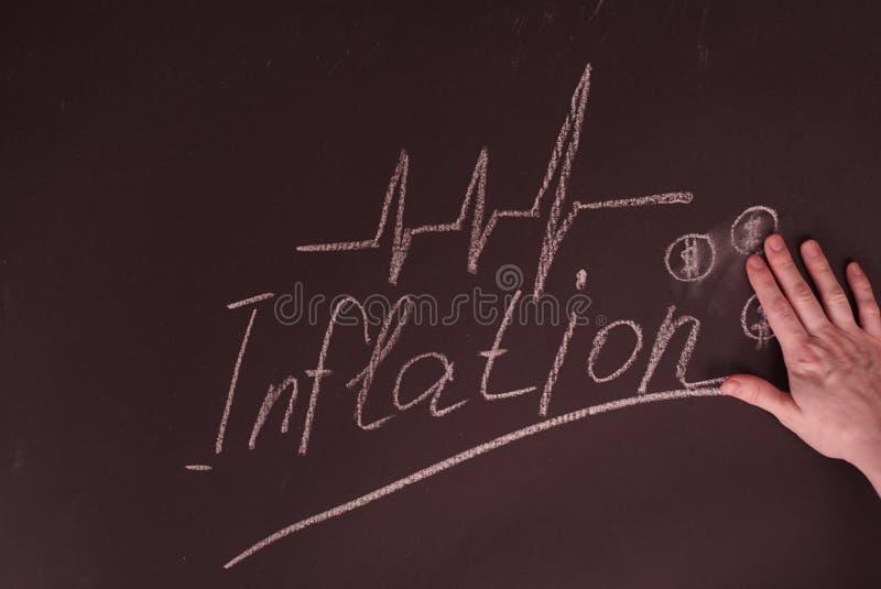 Person Hand Showing Inflation Concept con la carta del dólar en la pizarra imagenes de archivo