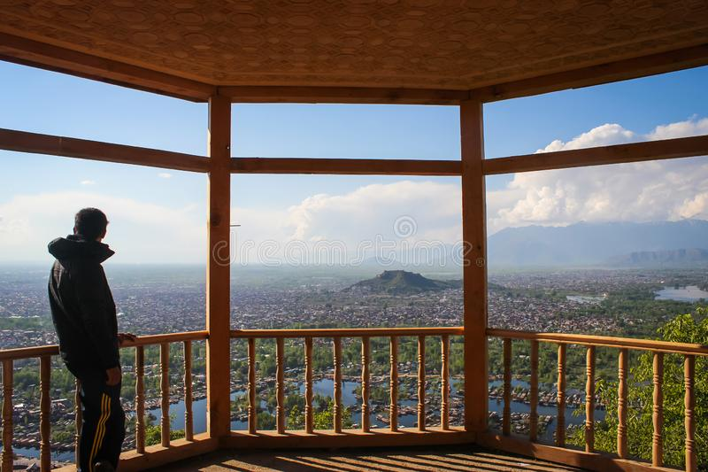 A person having an aerial view of downtown Srinagar CIty and houseboats in Dal Lake from a vantage point on Shankracharya Hill royalty free stock photos