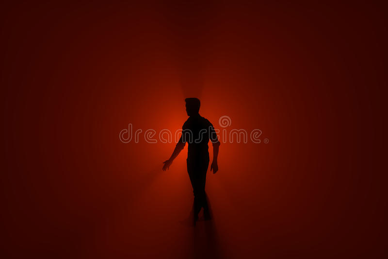 Person in the hazy fog in a red light background. 3D Rendering stock illustration
