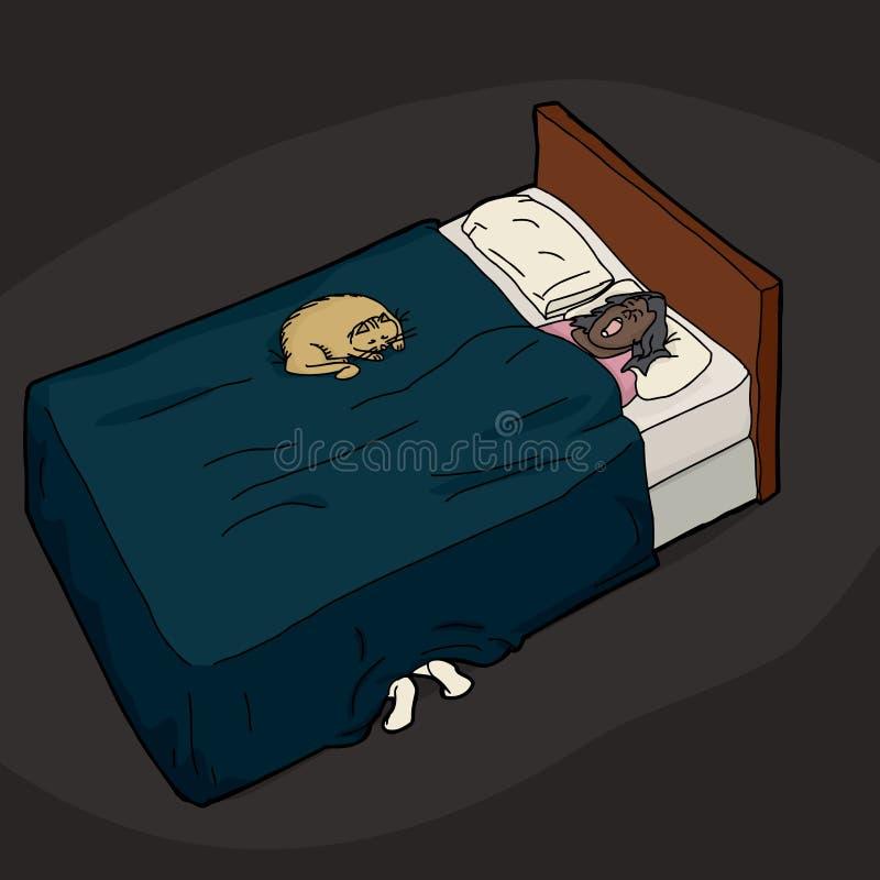 Person Hiding Under Bed stock de ilustración
