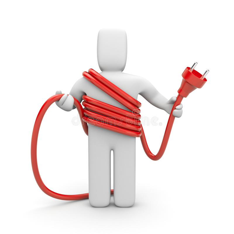Person hold cable. Cableman royalty free illustration