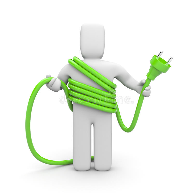 Person hold cable. Cableman stock illustration