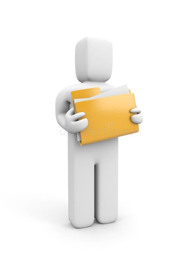 Person hold folder vector illustration