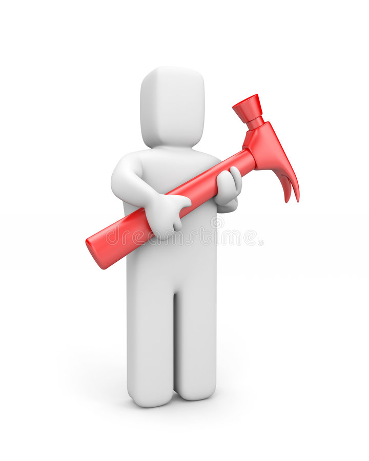 Download Person Hold Hammer Royalty Free Stock Photography - Image: 5771017