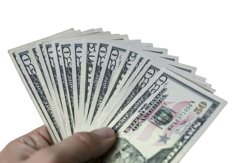 Person holding american dollar in hand and white background stock images