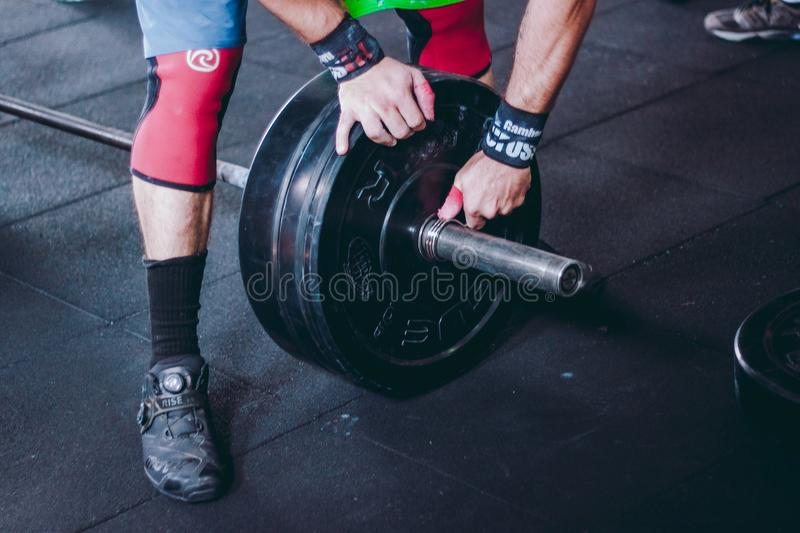 Person Holding Black Bumper Plate royalty free stock images