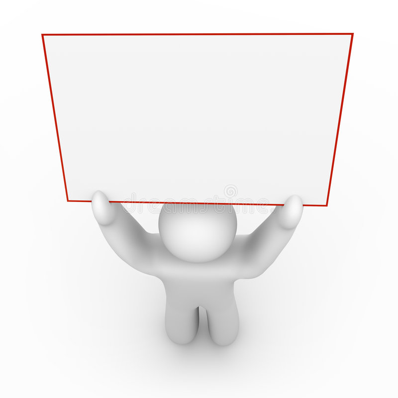 Person Holding a Blank Sign - 1. A white figure holds a blank sign that can include your message royalty free illustration