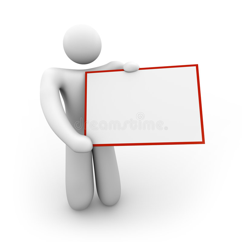 Person Holding a Blank Sign - 2. A white figure holds a blank sign that can include your message vector illustration