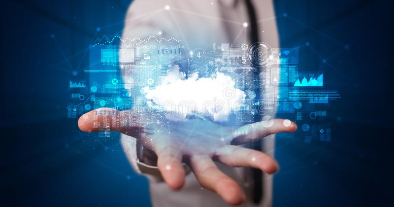 Holding cloud system hologram screen stock photography