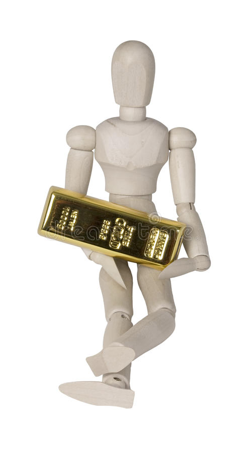 Person Holding a Large Gold Bar stock image