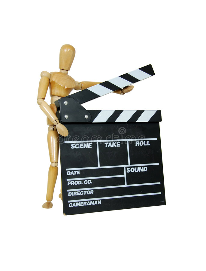 Person holding movie clapper royalty free stock image