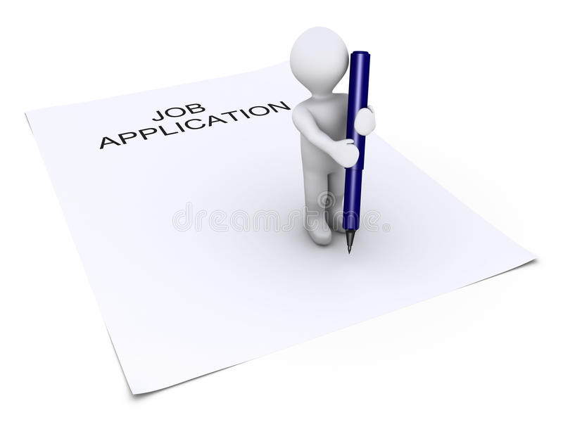 Person holding a pen is on job application paper royalty free illustration