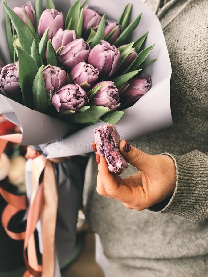 Person Holding Pink Tulip Bouquet royalty free stock photo