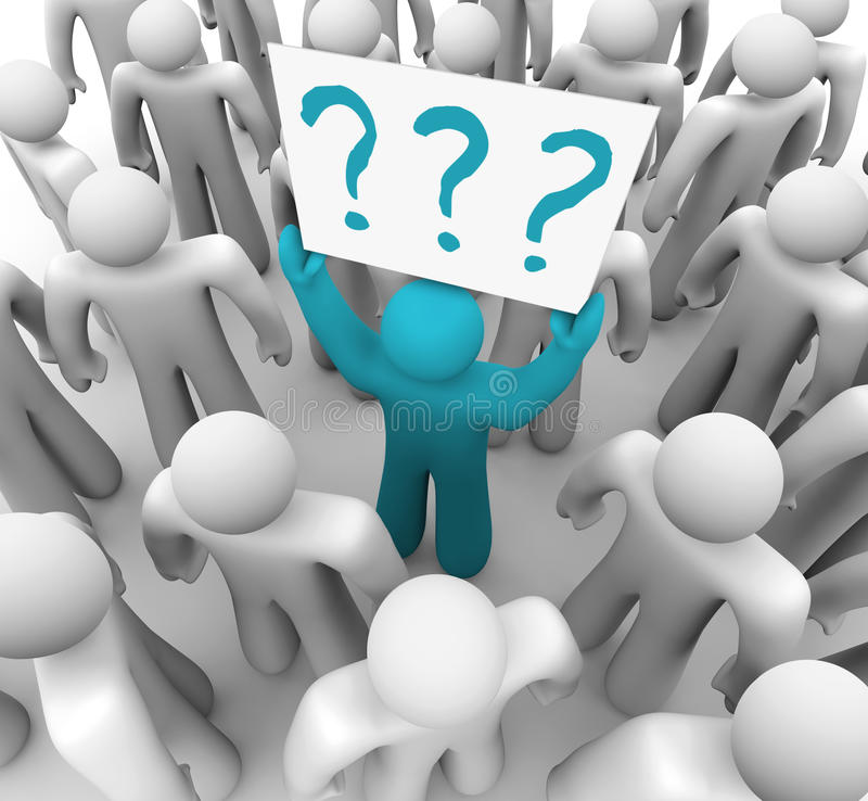Person Holding Question Mark Sign in Crowd stock illustration