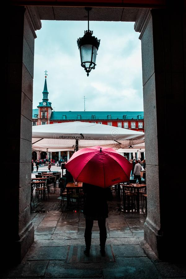 Person Holding Red Umbrella stock image