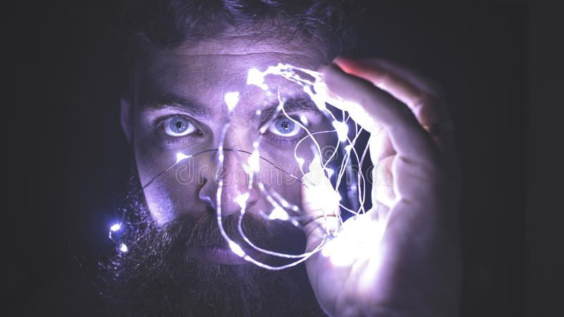 Person Holding String Lights Photo royalty free stock image