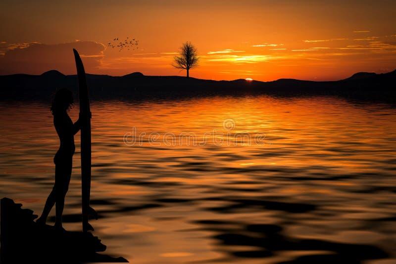 Person Holding a Surfboard Near the Sea on a Setting Sun stock photos