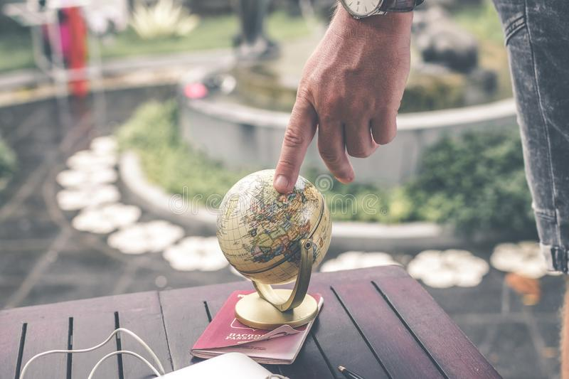 Person Holding Terrestrial Globe Scale Model Taken stock images