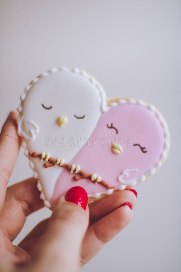 Person Holding White and Pink Birds Ornament royalty free stock image